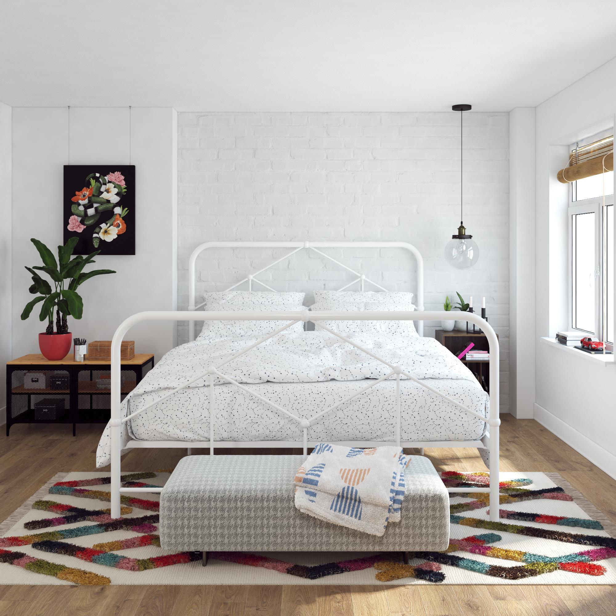 Novogratz Francis Farmhouse Metal Bed Queen Bed Frame White Walmart Com Walmart Com