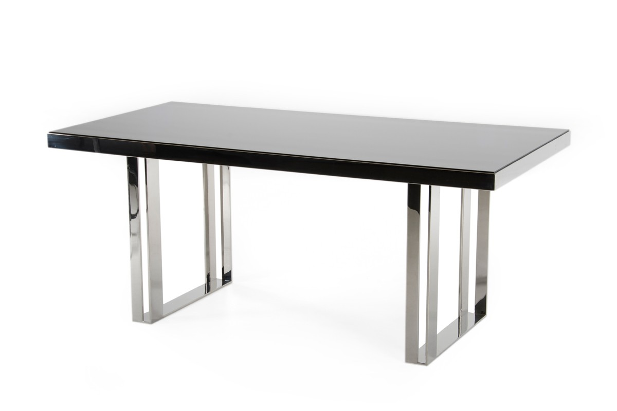 stainless steel dining table 1PerfectChoice Modern Rectangular Stainless Steel Base Black Glass  stainless steel dining table