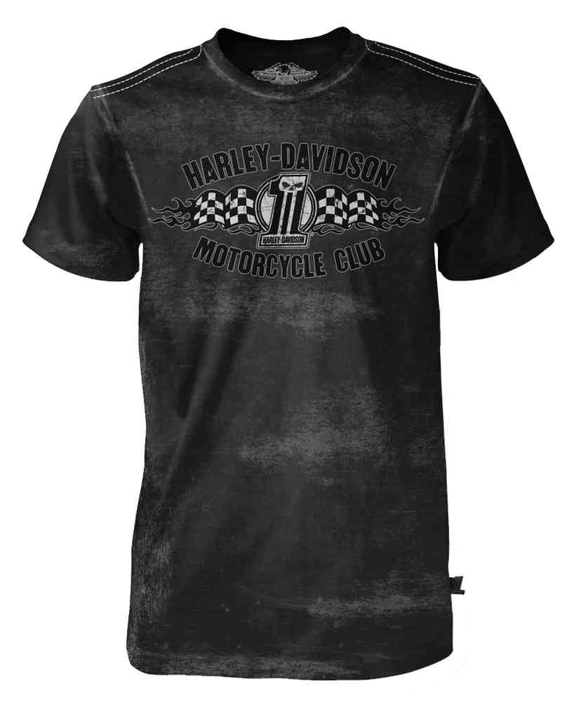 Harley-Davidson Men's Black Label Distressed Tee, Racing Flag #1 Skull, Black, Harley Davidson by Bravado