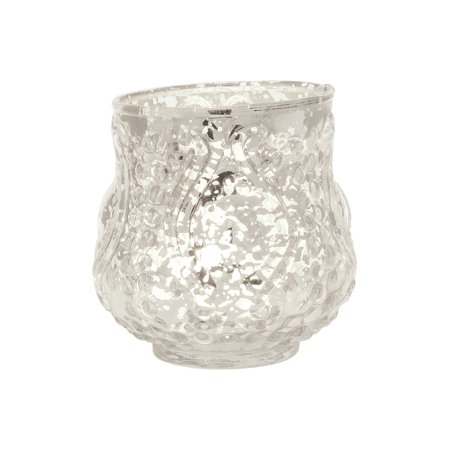 Luna Bazaar Vintage Mercury Glass Vase (3-Inch, Rose Design, Small Nouveau Motif, Silver) - Decorative Flower Vase - For Home Decor and Wedding Centerpieces
