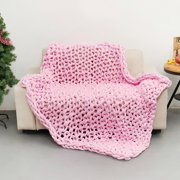 59''x39'' Washable Chunky Knit Luxury Throw Blanket Knitted Premium Skin-friendly Soft Cotton Bulky Blankets for Cuddling up in Bed, on the Couch or Sofa