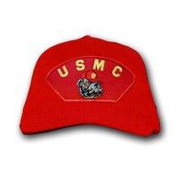 USMC with Bulldog, Red Marine Corps Ball Cap