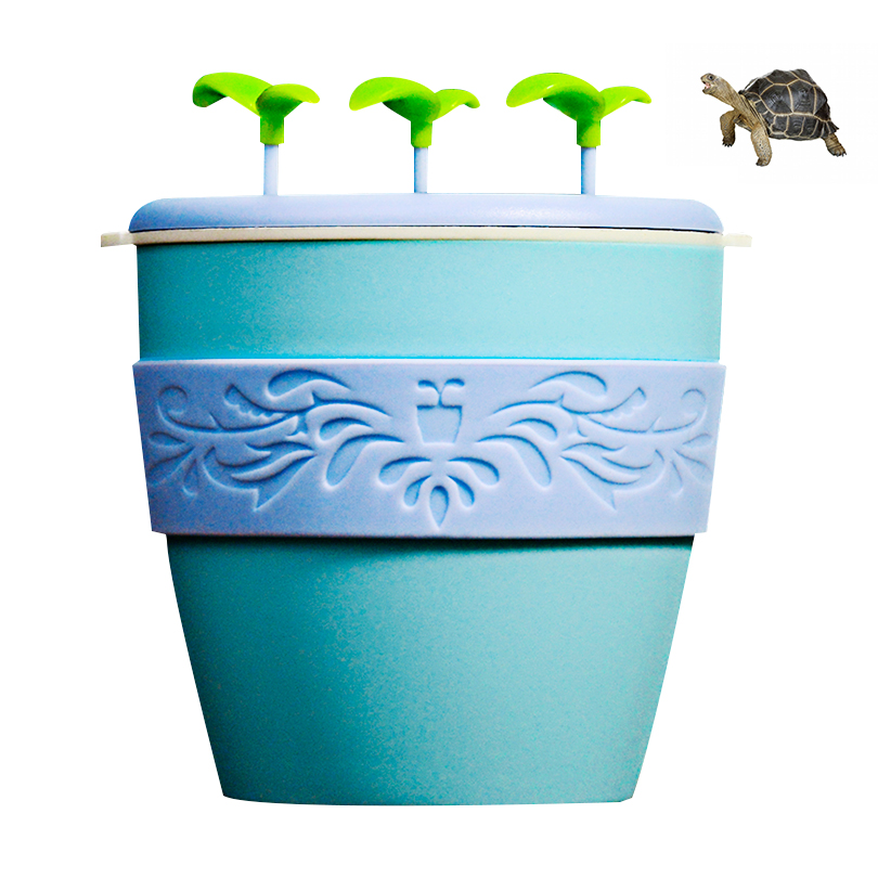 Pet Humidifier Mini Potted Plant Humidifier Cute Ceramic Atomizer with Automatic Power-off Function, Suitable for Lizard, Spider, Cockroach and Hermit Crab, Green