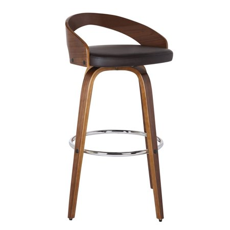 """Hawthorne Collections 30"""" Faux Leather Bar Stool in Brown"""