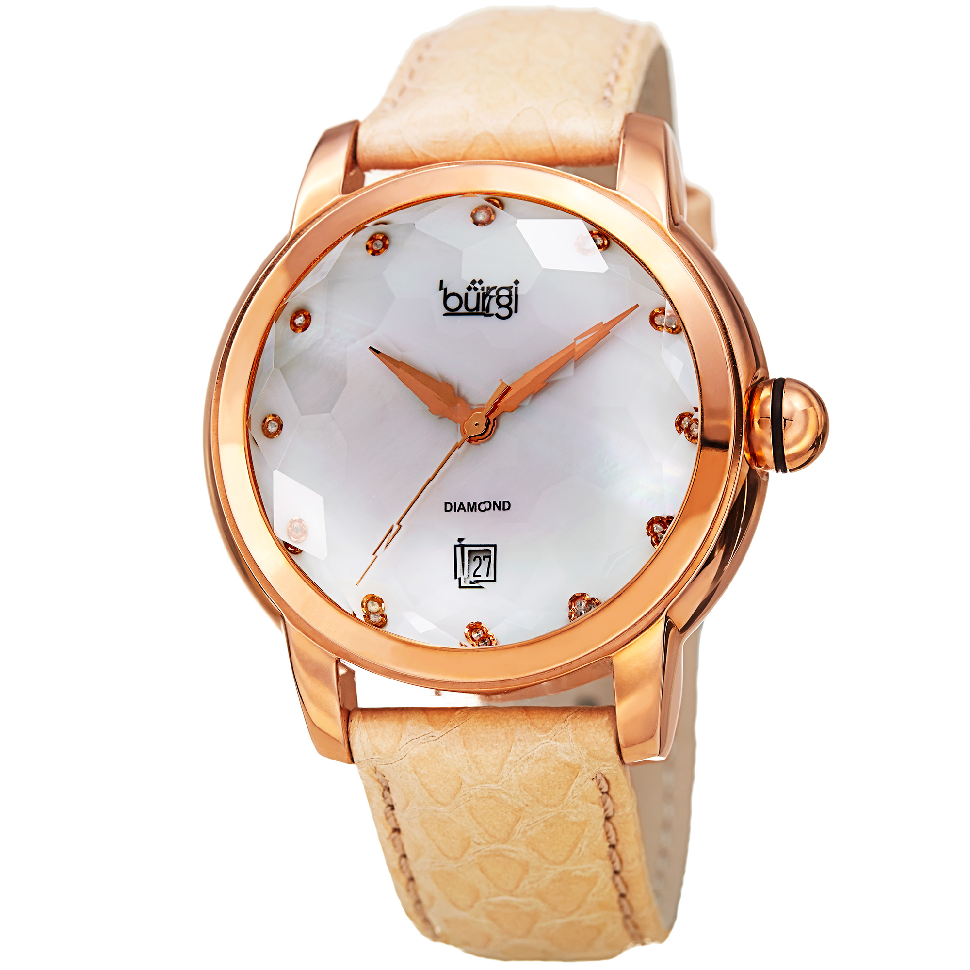 Burgi Women's Diamond Quartz Date Watch