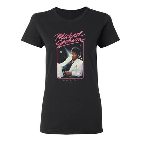 Michael Jackson Junior's King of Pop White Suit T-Shirt (Michael Jackson Sequin Shirt)