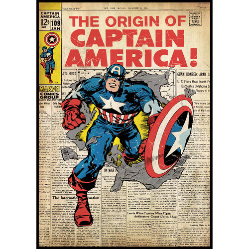 York Wallcoverings 12440308 Captain America Comic Book Cover Wall Accent Sticker