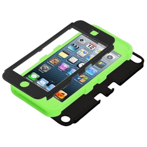 Insten Rubberized Black/Electric Green TUFF Hybrid Phone Case for APPLE: iPod touch (5th 6th Gen)