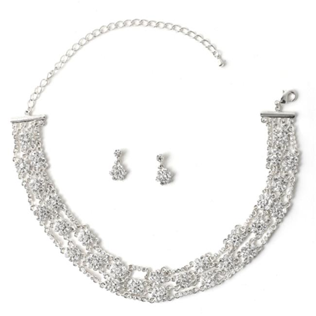 Charlestone Silver Crystal Rhinestone Flower Net Necklace & Matching Flower Dangle Earrings Jewelry Set