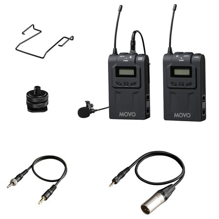 Movo Wireless 48-Channel UHF Lavalier Microphone System for Canon EOS 1D-X MK I&II, 5D MK I, II, III, 5DS R, 6D, 7D MK I+II, 60D, 70D, Digital Rebel T6S, T6i, T5i, T4i, T3i, T2i DSLR