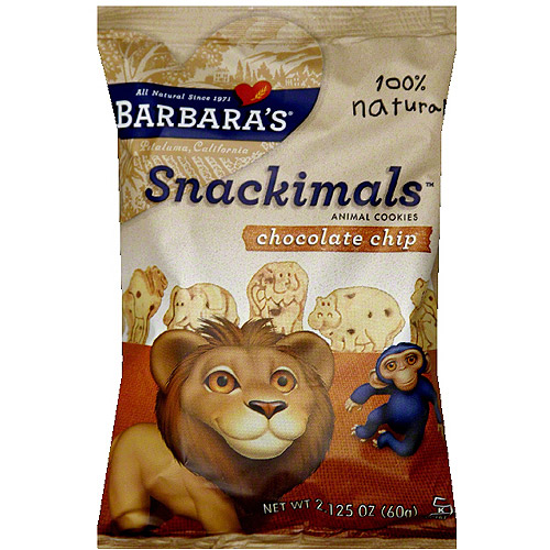 Barbara's Snackimals Chocolate Chip Animal Cookies, 2.125 oz (Pack of 18)