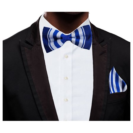 Blue and White Handwoven Kente Bow Tie and Pocket Triangle
