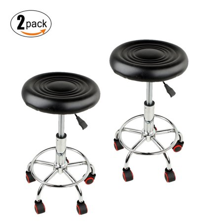 Tattoo Therapy (Walfront Adjustable Rolling Salon Stool Hydraulic Tattoo Massage Therapy Swivel Facial Spa Stool Chair Bar Stool Black, Pack of 2)