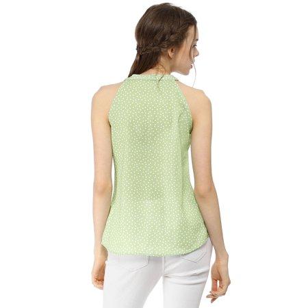 6b050b9c7e0f5 Women s Polka Dot Bow Tie Neck Tank Sleeveless Halter Top Green XS - image  1 ...
