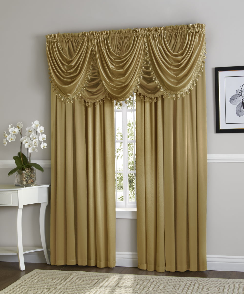Hyatt Window Curtain & Fringed Valance Complete 9 Piece Window Treatment Set Antique by