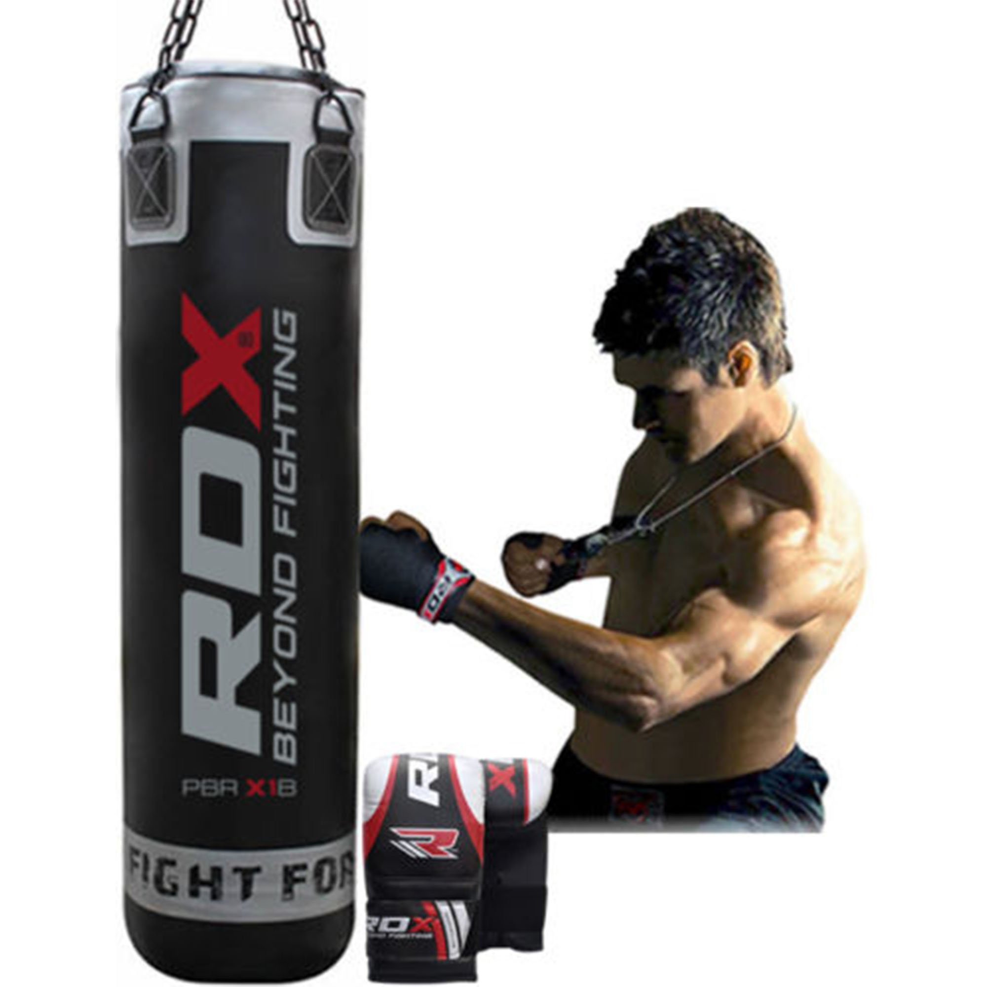 RDX Maya Hide Leather 5 Feet Punch Bag, Black