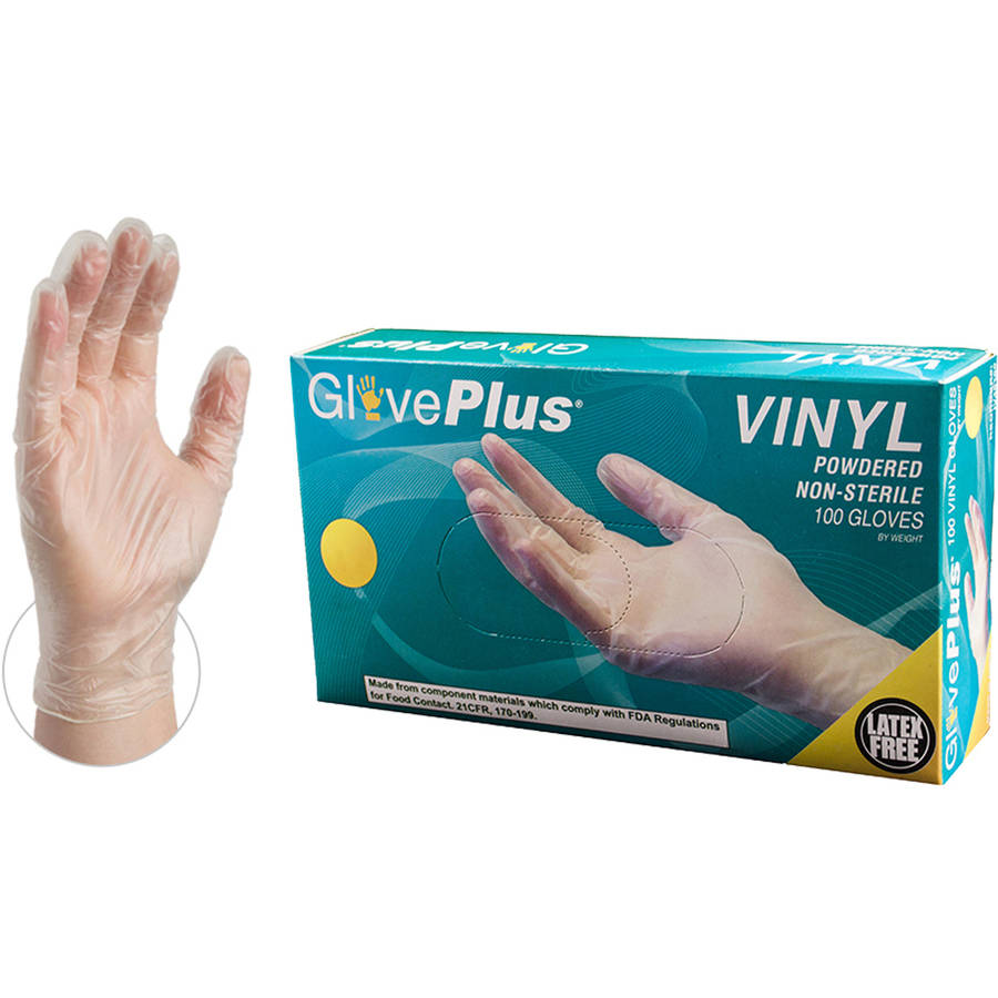 GloevPlus Clear Vinyl Powdered Industrial Disposable Gloves, Small by AMMEX