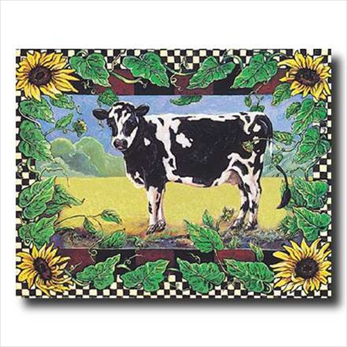 Country Cow Sunflower Folk Wall Picture Art Print