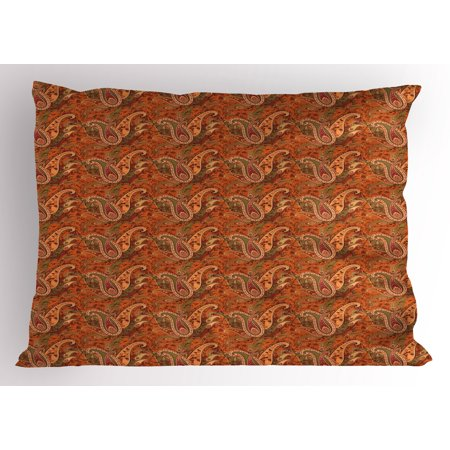 Orange Pillow Sham Traditional Old Fashioned Paisley Pattern Floral Design with Leaves, Decorative Standard King Size Printed Pillowcase, 36 X 20 Inches, Orange Olive Green Redwood, by Ambesonne