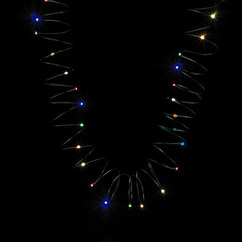 Set of 60 LED Multi-Colored Angel Tear Christmas Lights - Green Wire