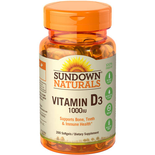 Sundown Naturals Vitamin D3 1000 IU Softgels, 200 count