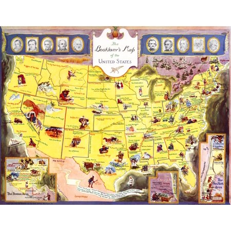 The Book Lovers Map of the United States  A map of America showing the locations where some of the great authors based their tales  Included is Poe Thoreau Melville Whitman Twain Irving Cooper