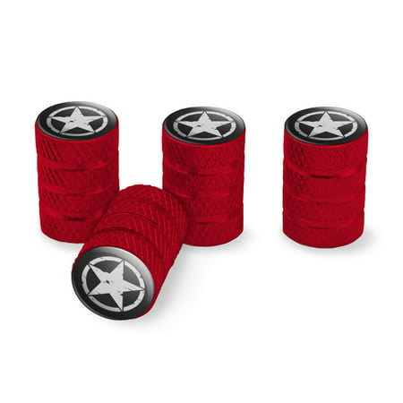 - Oscar Mike On Mission Move Vintage Military Star Tire Rim Wheel Aluminum Valve Stem Caps - Red