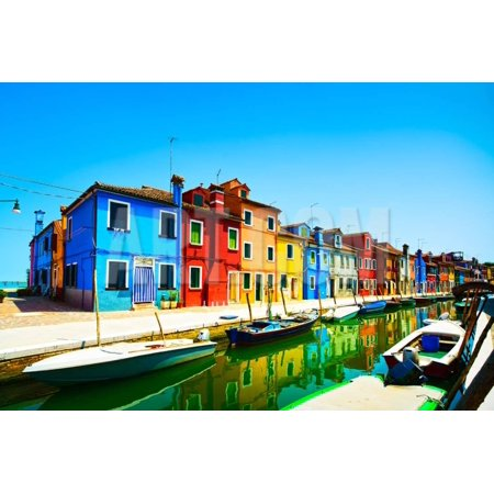Venice Landmark, Burano Island Canal, Colorful Houses and Boats, Italy Print Wall Art By stevanzz