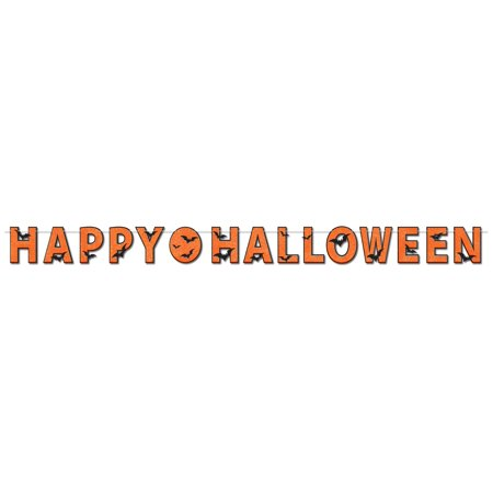 Glittered Happy Halloween Streamer Party Accessory (1 count) - Halloween Party Menu Easy