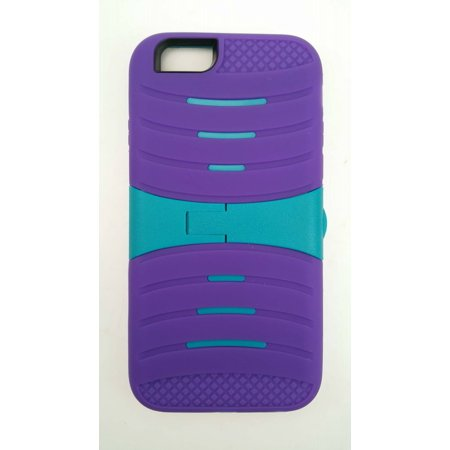 """For Apple iPhone 6 6S 4.7"""" Screen Display - Wydan Hybrid Ripple 3 Piece Snap On Plastic Soft Rubberized Non Slip Silicone Cover Shock Resistant Protective Kickstand Phone Case Purple on Teal"""