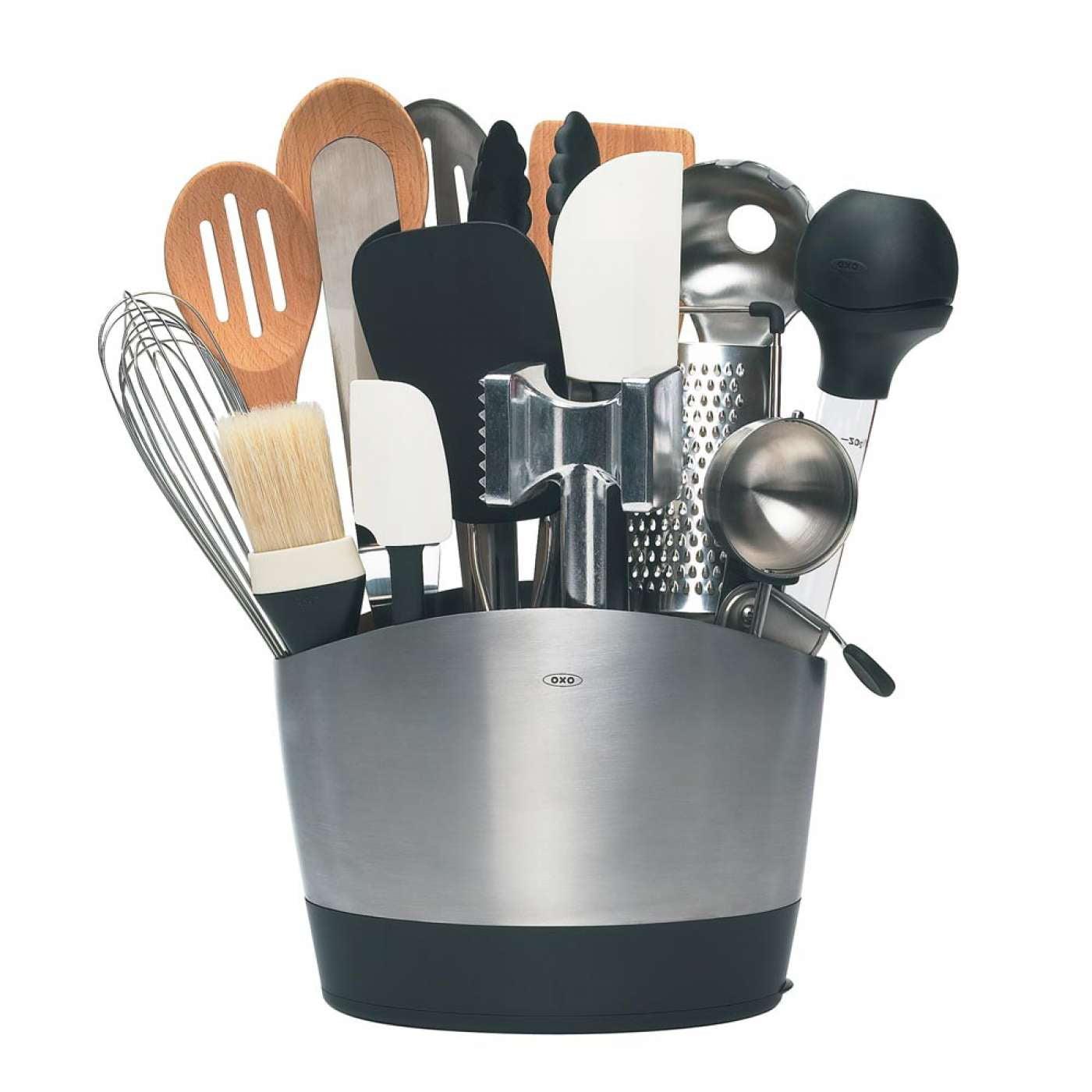 oxo good grips stainless steel utensil holder - Oxo Kitchen
