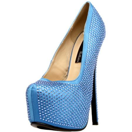 """Womens 6 3/4"""" Royal Blue Rhinestone Covered Pump W/ 2"""" Platform Shoes"""