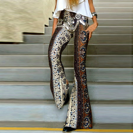 New Women ladies Floral print Hippie boho long pants High Waisted skinny slim Long Flared Bell Bottom long Pants Trousers Gray S