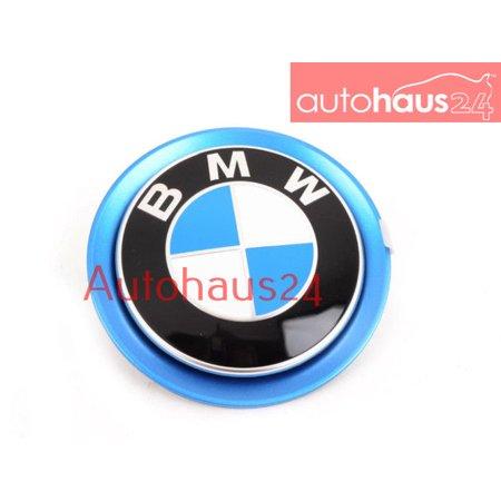 BMW I12 I8 FRONT BLUE BMW ROUNDEL BADGE EMBLEM FRONT HOOD GENUINE OEM (Black Carbon Fiber Bmw Emblem)