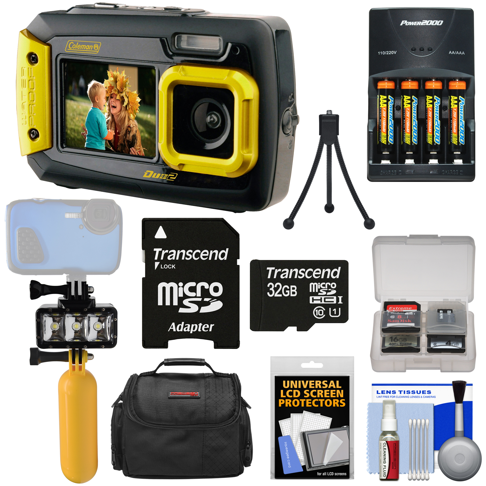 Coleman Duo 2V9WP Dual Screen Shock & Waterproof Digital Camera (Yellow) + 32GB Card + Batteries & Charger + Diving LED... by Coleman