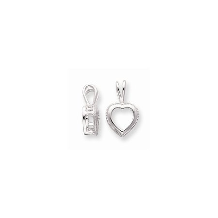Sterling Silver Heart 9.0mm Rope Frame Back Set Fixed Bail Pendant ...