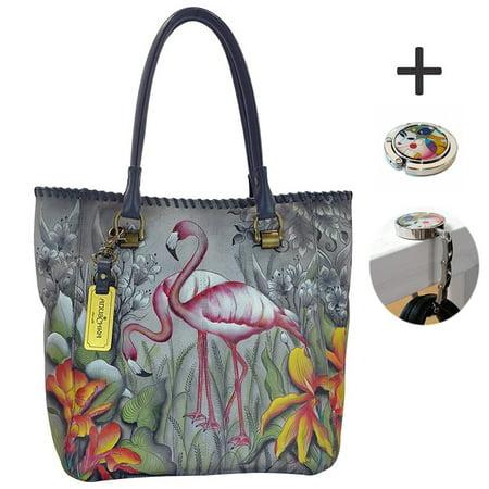 Anuschka Large Shopper- Hand Painted Real Leather -Tote Handbag, Purse Tag & Foldable Holder
