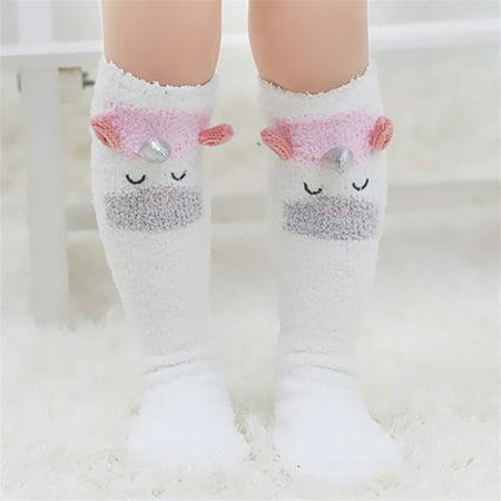 Children's Baby Kid Socks Antiskid Toddler Cotton Long Warm Socks 1-5Y White](Red And White Long Socks)