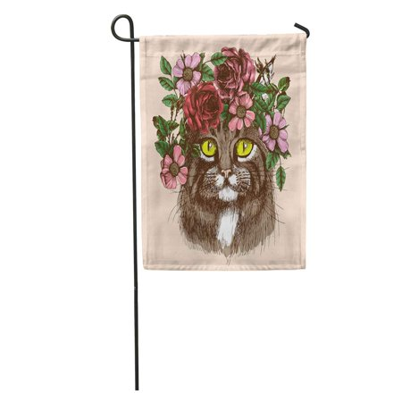KDAGR Boho Maine Coon Cat Portrait Floral Wreath Hippie Tattoo Artistic Garden Flag Decorative Flag House Banner 12x18 - Hippe Tattoos