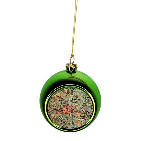 jackson pollock s abstract art with the words merry christmas bauble