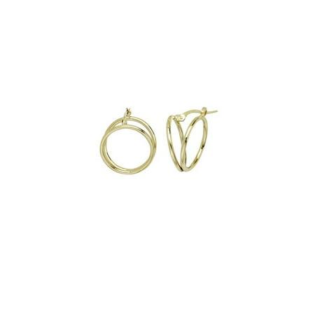 14k Gold Double Loop (14k Yellow Gold Fancy Double Loop Hoop Earrings - 1.4)