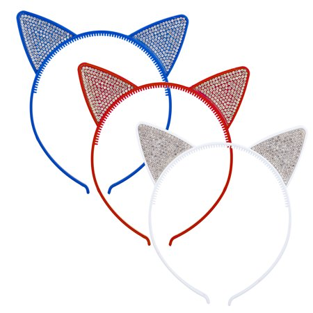 Lux Accessories Blue Red White Faux Rhinestones Kitty Cat Ears Headband Set of - Kitty Ears