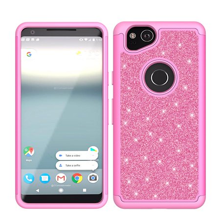 promo code 168df 3776f Google Pixel 2 Case, Pixel 2 Glitter Bling Heavy Duty Shock Proof Hybrid  Case with [HD Screen Protector] Dual Layer Protective Phone Case Cover for  ...