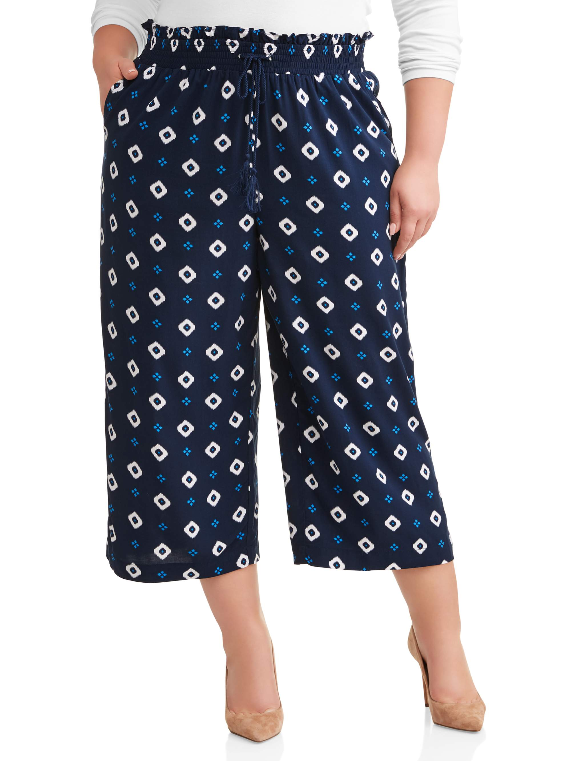 1b31e81112 Terra   Sky - Women s Plus Wide Leg Cropped Pant - Walmart.com