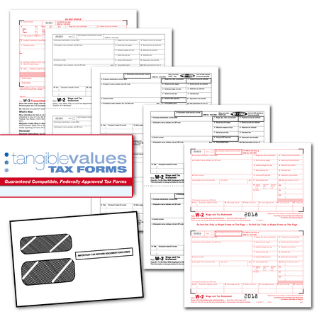 Tangible Values W-2 Laser Tax Forms (4-Part) Kit with Envelopes for 25  Employees (2018)