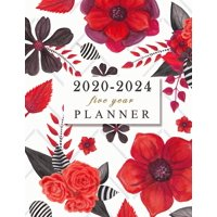 2020-2024 five year planner : 60 Months Calendar, 5 Year Calendar Diary, Five Year Monthly Planner black red flowers cover