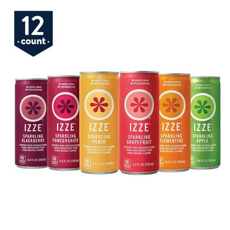 IZZE 6 Flavor Sampler Variety Pack, 8.4 oz Cans, 12