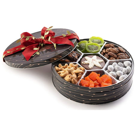 The Nuttery Deluxe Premium Nut and Dried Fruit Gift Basket- 7 Sectional Holiday Gift Tin