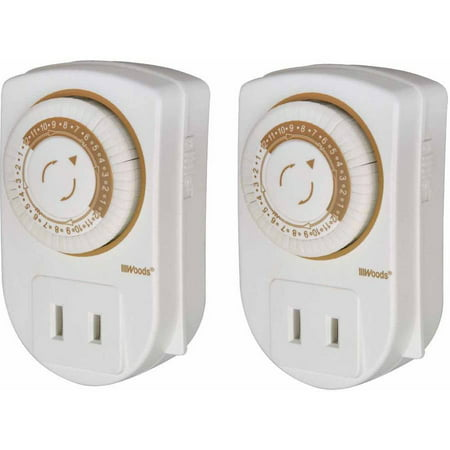 Woods 50006 Indoor 24 Hour Mechanical Outlet Timer 2 Pack Walmart