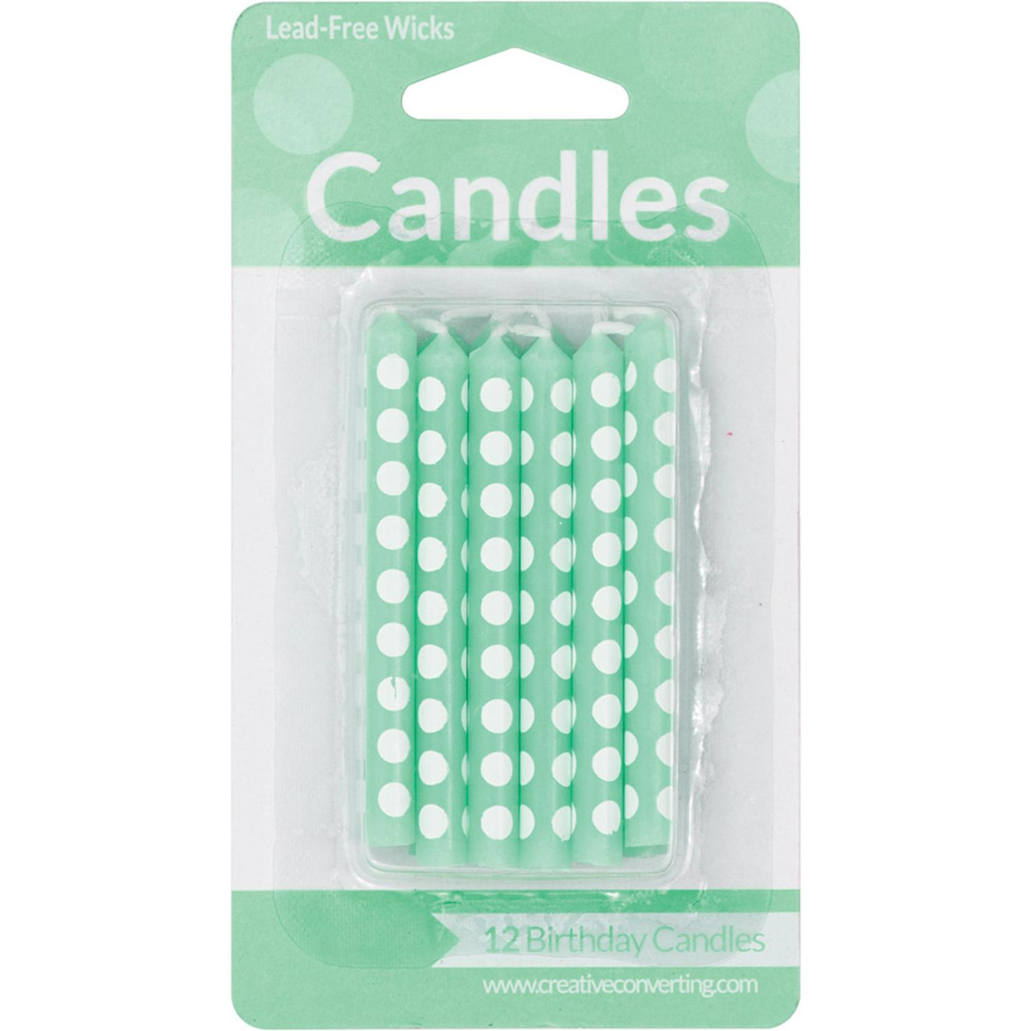 Club Pack of 72 Fresh Mint Green Polka Dots Decorative Party Candles 4.5""